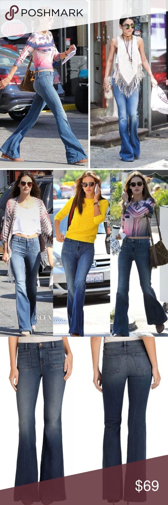 """J BRAND JEANS DEMI HIGH RISE FLARE ASHBURY WASH 28 J BRAND 802 DEMI HIGH RISE FLARE JEANS IN ASHBURY WASH  Celeb Fave: as seen on Singer Selena Gomez, Alessandra Ambros, Vanessa Hudson  $238 Retail Price  new without the tag & one minor defect a tiny nick hole by the side seam on left thigh see the top right photo on the last set of pictures (very minor)  Style 802O212  Patched Pocket Flare  High-Rise  65% Cotton, 33% Lyocell, 2% Elastane  Sz 28: waist flat 13.75"""" rise 9.5"""", hips flat at top…"""