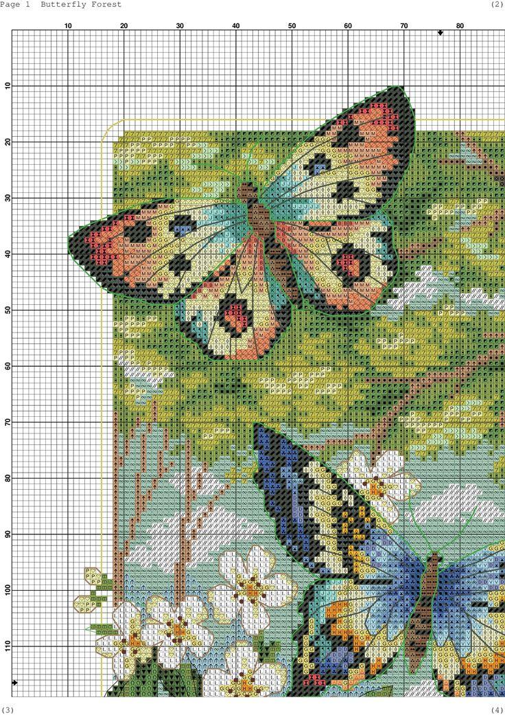 Łąka, Drzewa, Fioletowe Kwiaty i 4 Motyle cz.1