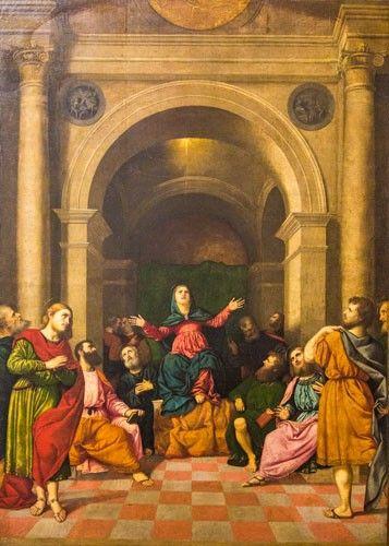 Helluntai. Paris Bordon, noin 1550. Pinacoteca di Brera, Milano, Italia. Valokuva Marco Peretto