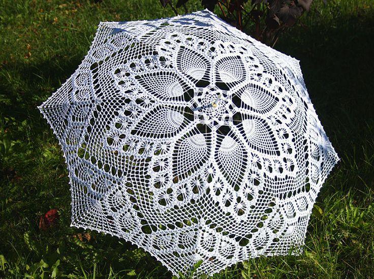 Купить Ажурный свадебный зонтик - зонтик, зонт, свадебный зонт, свадебный аксессуар, вязаный зонт