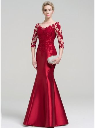 Trumpet/Mermaid Scoop Neck Floor-Length Satin Evening Dress (017093464)