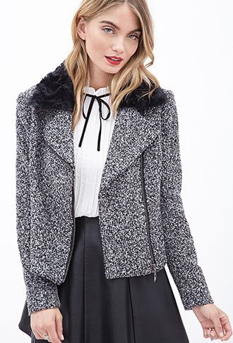 Faux Fur-Trimmed Bouclé Moto Jacket | Love21 - 2000059294