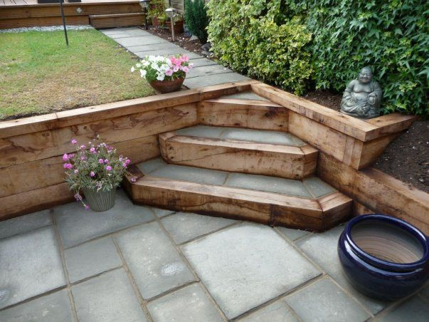 Reclaimed railway sleepers used with block paving to create feature steps in split level garden | Backyard | Sloped garden, Garden steps, Sunken patio