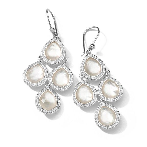 Silver Stella Pear Drop Earrings In Mother Of Pearl Doublet With Diamonds