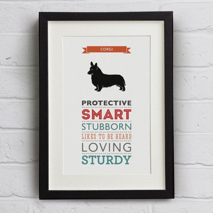 Corgi Dog Breed Traits Print - Gift fro Corgi Owners by WellBredDesign on Etsy https://www.etsy.com/listing/199898533/corgi-dog-breed-traits-print-gift-fro