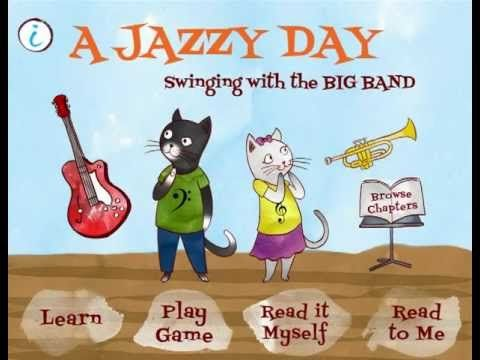 A Jazzy Day - Swinging with the Big Band app for iPhone/iPad has an informative story that explains the instruments and components of jazz music.  A section of the app provides practice in learning the instruments and includes an instrument identification game. Colorful illustrations and an interactive story component.