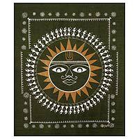 Warli painting, 'Surya the Sun God'