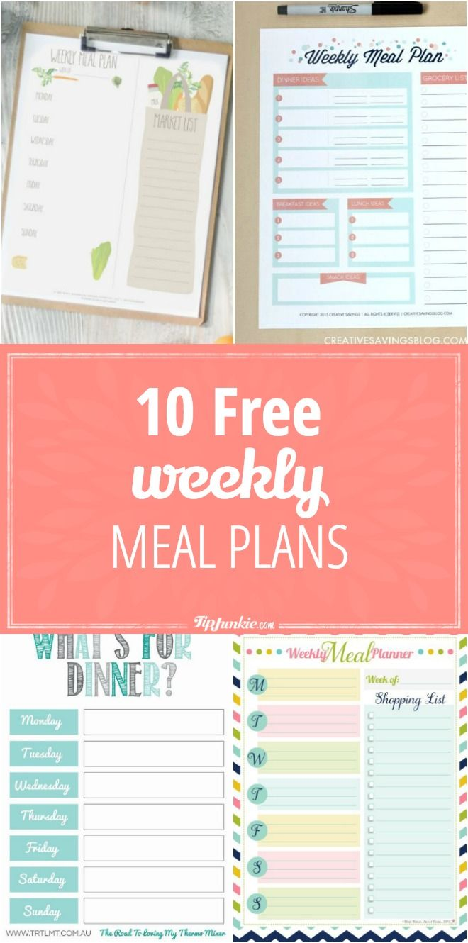 10 Free Weekly Meal Plans