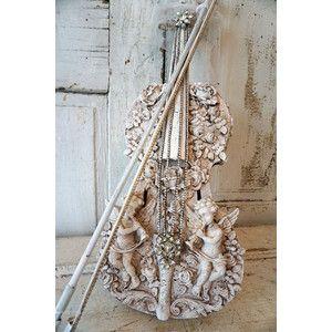 Violin Art Piece Original Work Vintage Fiddle Bow French Nordic White Ornate Embellished Shabby Cott