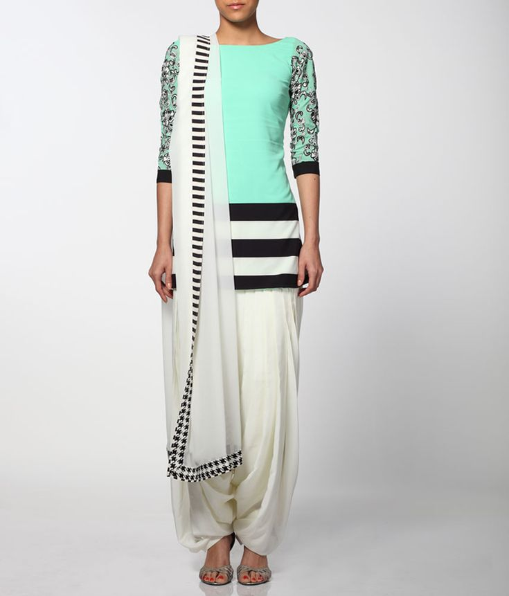 Neeta Lulla women wear dress collection in mint green and black/white