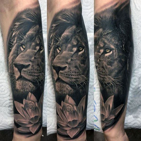 Flower With Lion Guys Realistic Forearm Tattoo Sleeve Traditional