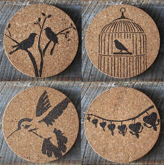 Bird themed Cork Trivets or Hot Plates. Designs burned into cork.