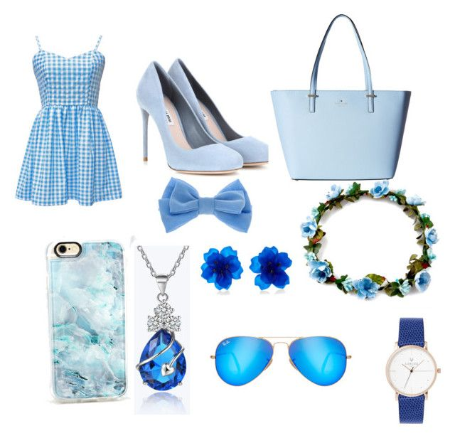 """Bluee outfits"" by shiannejayneallin on Polyvore featuring Miu Miu, Kate Spade, claire's, Casetify and Ray-Ban"