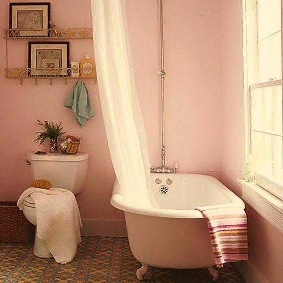 Wandfarbe, Badezimmer, Pink Beige, Rosa, Gelb, Hellrosa, Rosa Lackfarben,  Bad Lackfarben, Weichen Farben