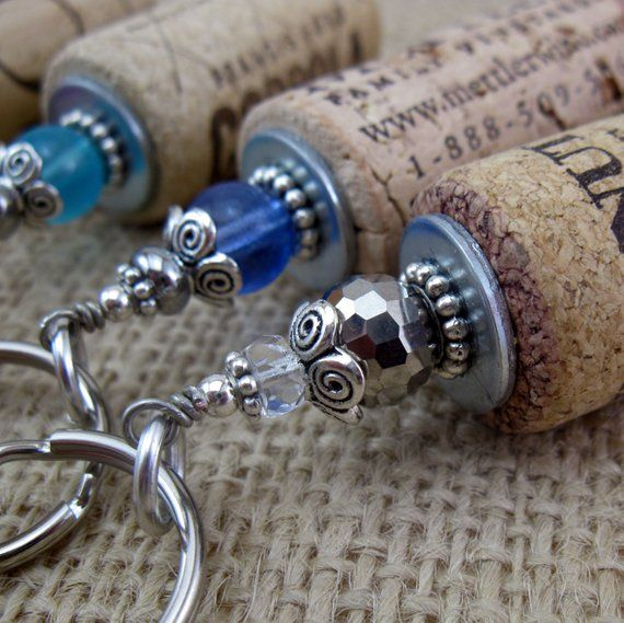Cork Art Wedding: Wine Cork Jewelry/Wine Cork Keychain/Wine Lover Gift