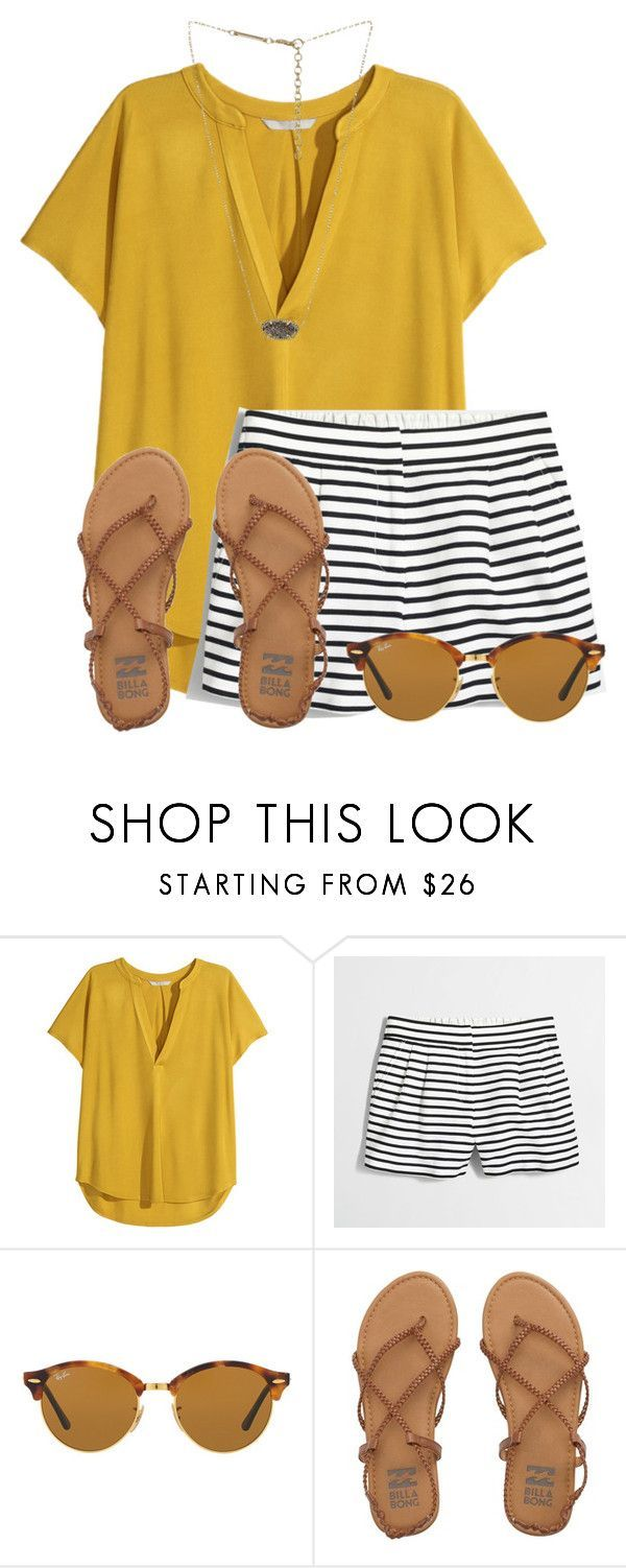 """""""Doing yard work for my Grammie """" by flroasburn ❤ liked on Polyvore featuring H&M, J.Crew, Ray-Ban, Billabong and Kendra Scott"""
