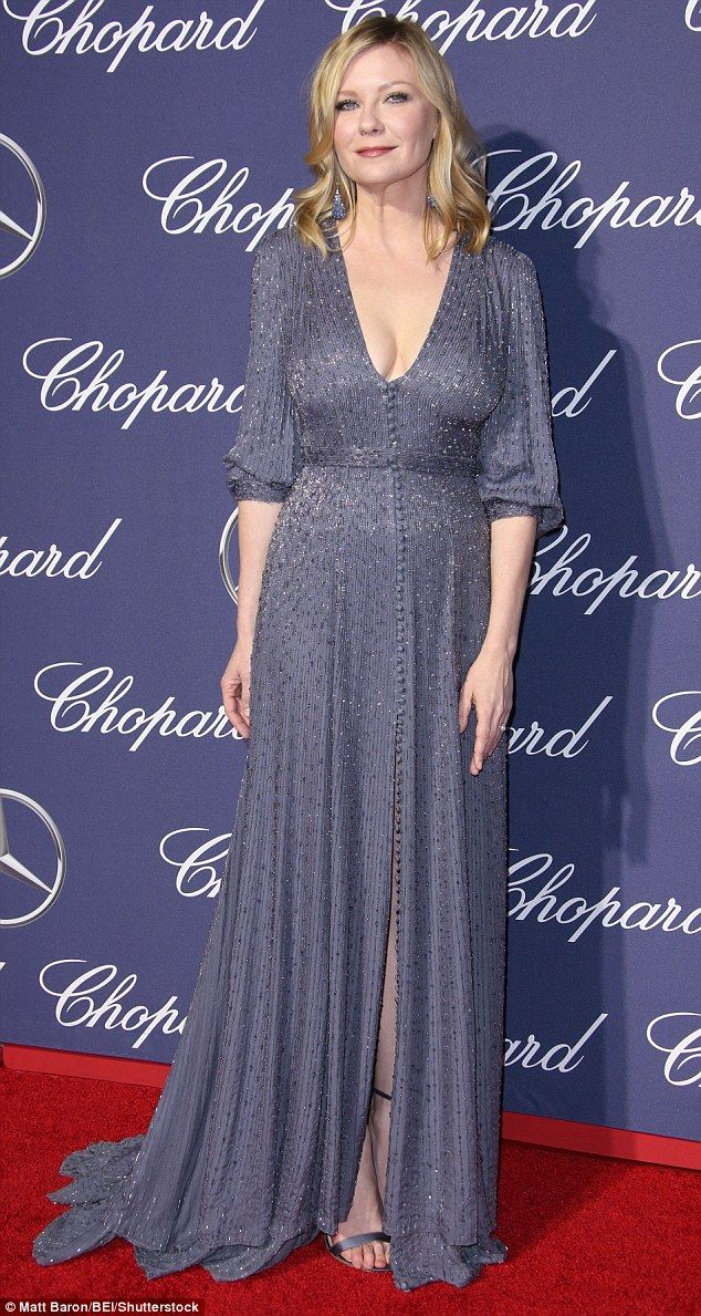 Stunning in gray: Kirsten Dunst put it all out front on Monday night at the Palm Springs I...