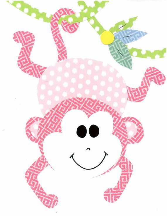 Pink Monkey Hanging from a Tree Nursery Artwork Print // Baby Room Decoration // Kids Room Decoration // Gifts Under 20