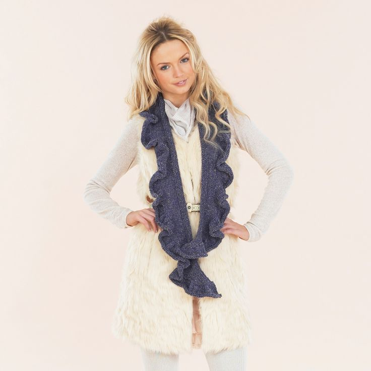 The Indigo Wrap & Furl scarf - from the Luxurious Aran Tweed hand knit book.