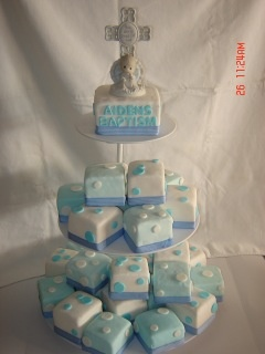 My baby boys baptism mini cakes... Easier to serve!
