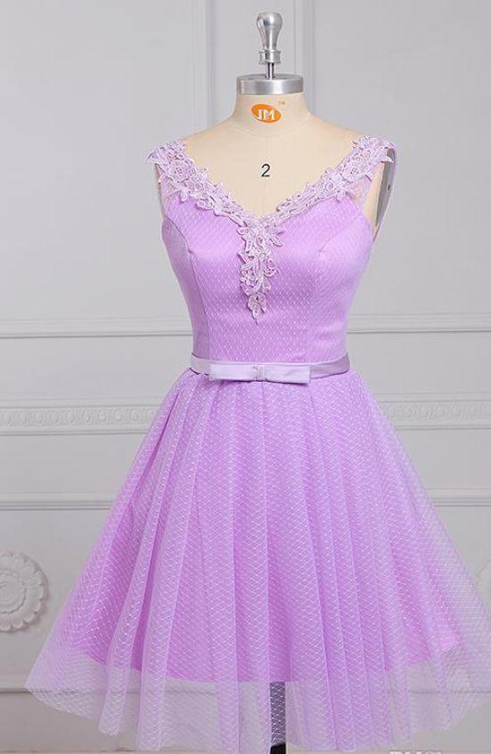 Short Light Purple Homecoming Dresses Sleeveless V