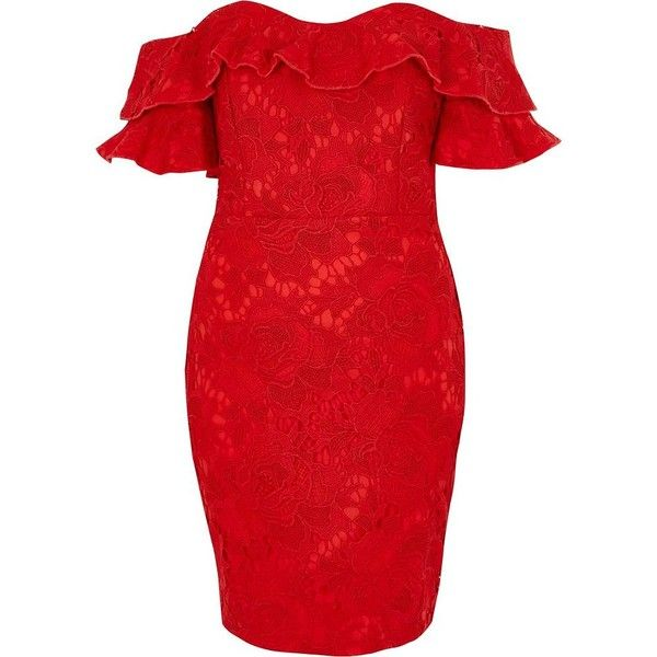 River Island Petite red lace frill bardot bodycon mini dre (425 PEN) ❤ liked on Polyvore featuring dresses, bodycon dresses, red, women, bodycon dress, short sleeve lace dress, red bodycon dresses, red lace dresses and red body con dress
