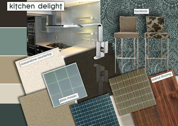 Contemporary Kitchen Design With Ceasarstone Countertop Glass Mosaic Splashback Walnut Timber