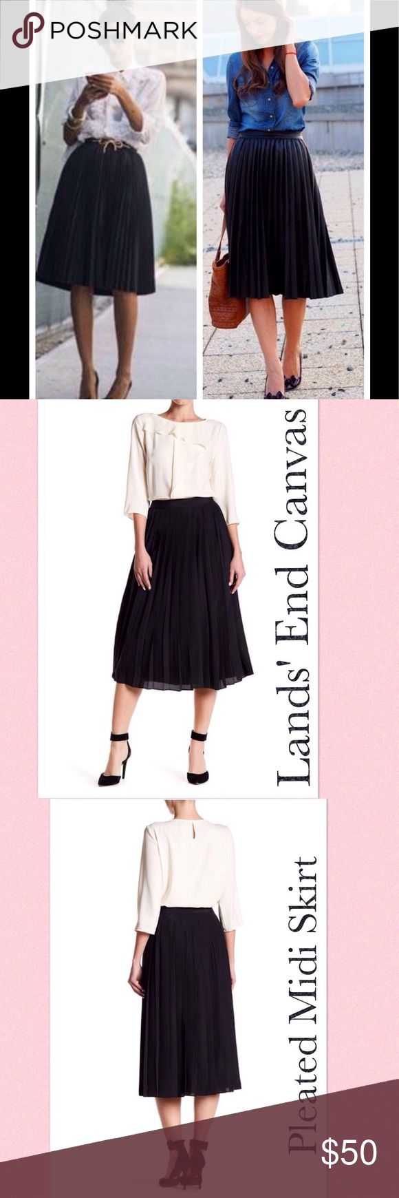 """Black Pleated Midi Skirt by Lands' End Canvas Black pleated midi skirt by Lands' End Canvas. Banded waist, hidden back zip w/ hook & eye clasp. A-line silhouette, smi-sheer, tonal lining, high rise waist, knife pleat design. Approx 30"""" long. NWOT from vendor..First pic is for styling ideas only. Pic 2 & 3 are actual item. Lands' End Skirts Midi"""