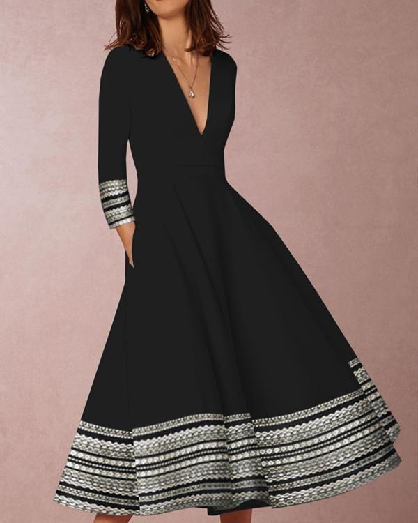 Long Sleeve Sundress for Women V Neck Boho Floral A-Line Flowy Plus Size Skater Dress