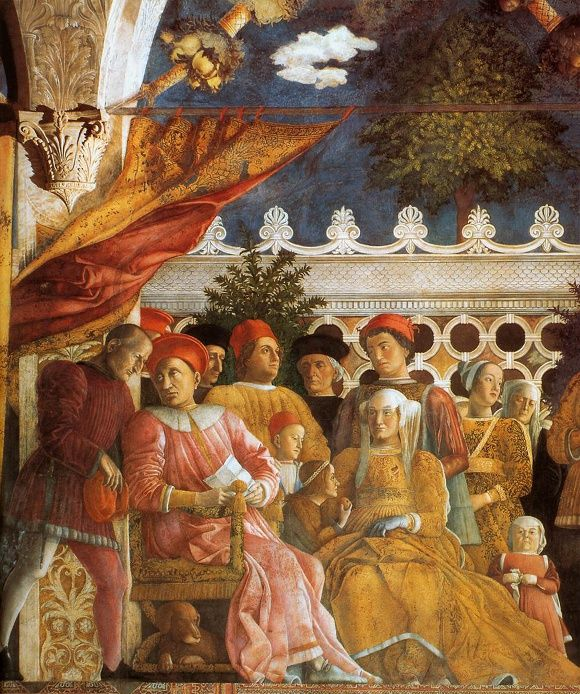 Ducal Palace in Mantova. The Mantegna frescos represent two scenes portraying the members of the Gonzaga family, the 'meeting scene' and the 'court scene'. With these paintings Mantegna celebrated his Lords and the prestige of Mantua.