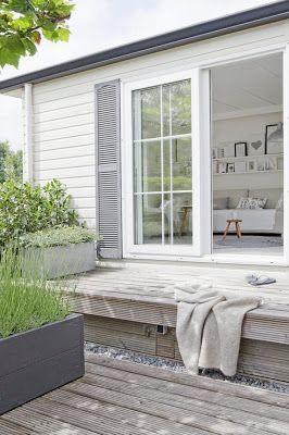 White Exterior   Grey Shutters