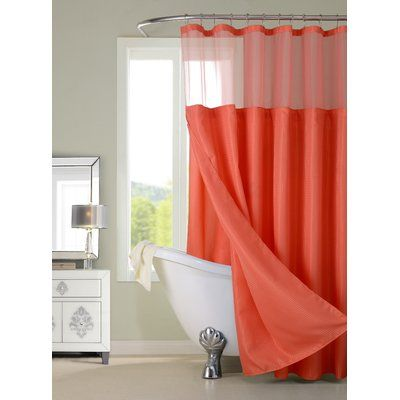 Dainty Home Hotel Shower Curtain Color: Coral