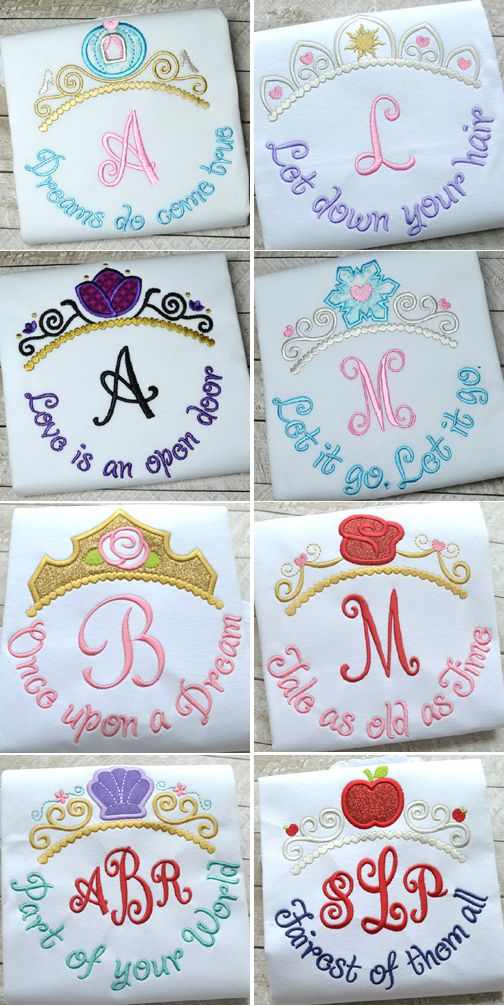 Disney Princess themed tiara appliques from Hooked On Applique