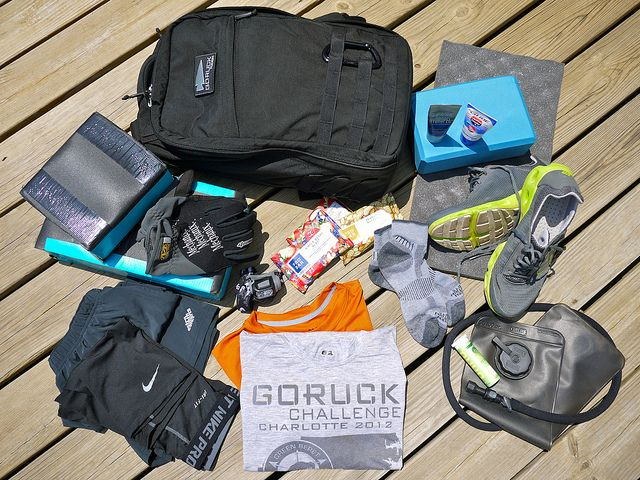 Loadout for the Goruck Challenge.    http://www.briangreen.net/2012/07/goruck-challenge-gear-loadout.html