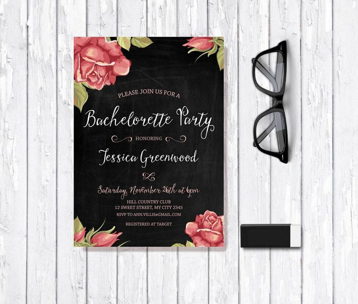 Bachelorette Invitation Printable, Digital File - Chalkboard Bachelorette - Shabby Chic Bachelorette Party Invite - pinned by pin4etsy.com