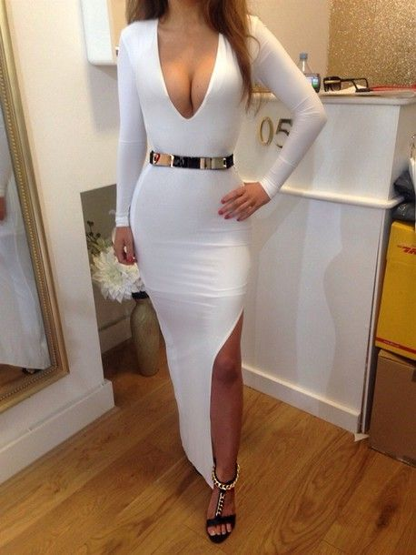 dress white maxi maxi dress split leg split dress golden belt kim kardashian bodycon