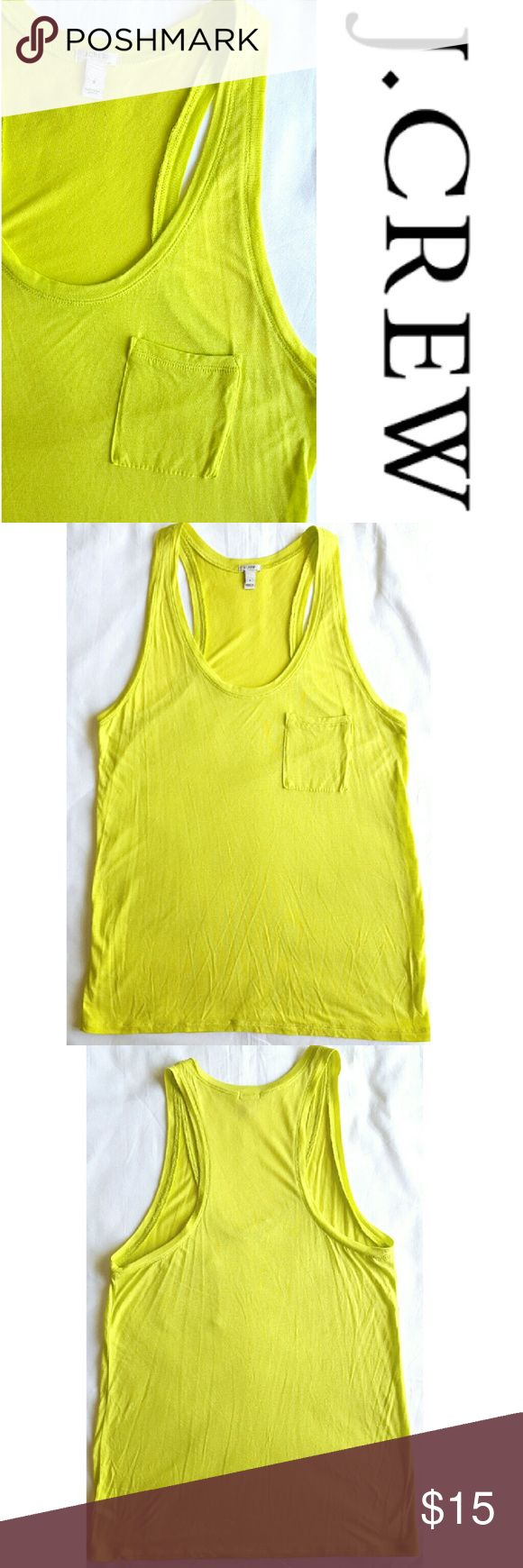 Neon yellow pocket tank top Bright neon yellow tank with front pocket detail. In excellent LIKE NEW condition. J. Crew Tops Tank Tops