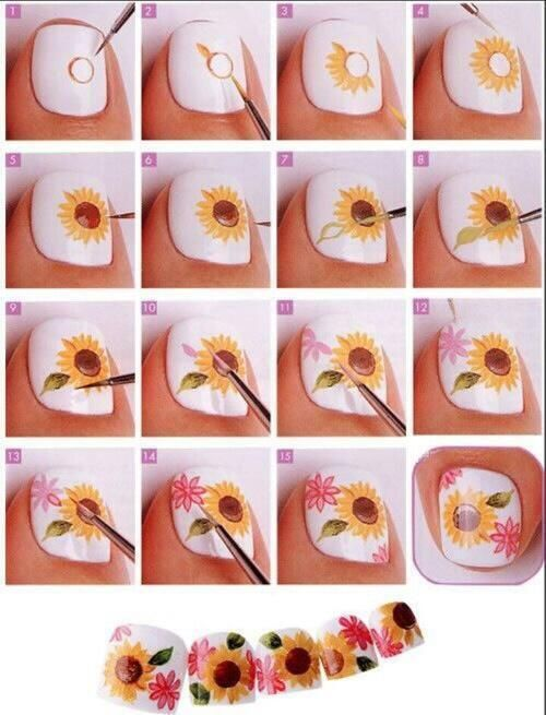 Tutorial on how to draw sunflower nail art                               …