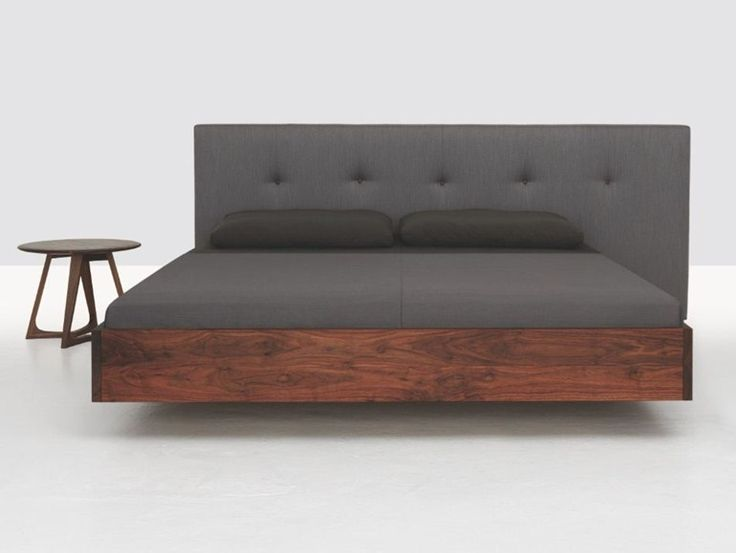 Wooden double bed with upholstered headboard SIMPLE BUTTON by ZEITRAUM | design Formstelle