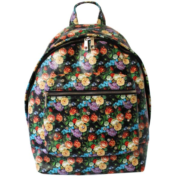 Floral garden goddesses unite! Spacious floral backpack. Rock it with our gossip shift dress. Made from high quality faux leather Digital printed in black flora