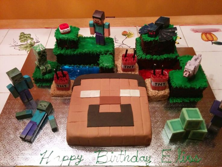 Minecraft Birthday Cake With Herobrine Face Tnt Made Of