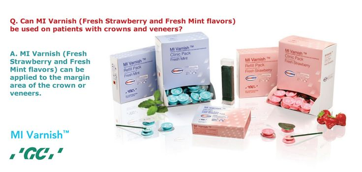 Q. Can #MIVarnish (Fresh Strawberry and Fresh Mint flavors) be used on patients with crowns and veneers? A. MI Varnish (Fresh Strawberry and Fresh Mint flavors) can be applied to the margin area of the crown or veneers.