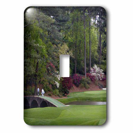 3dRose Amen Corner in Augusta Georgia - Golfers on Bridge, Double Toggle Switch