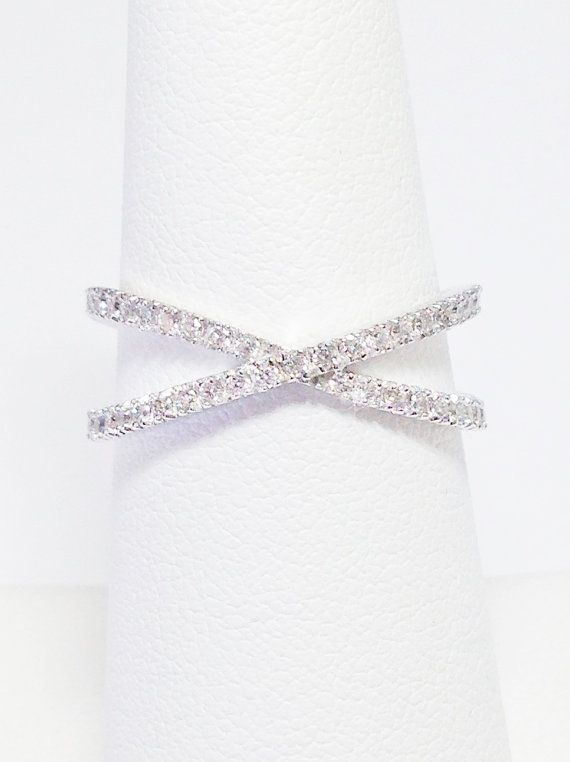 14K WHITE GOLD Criss Cross Ring 3/8 (0.40) Carats Total Diamond Weight Band