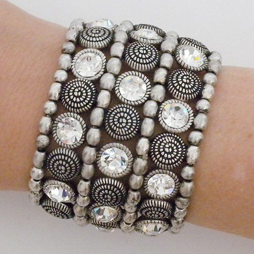 "Silver Beaded & Crystal Ethnic Stretch Cuff Perfect Details. $43.75. 2"" wide, fits most. brass, silver plated. stretch cuff. silver beads, embossed beads and crystals"