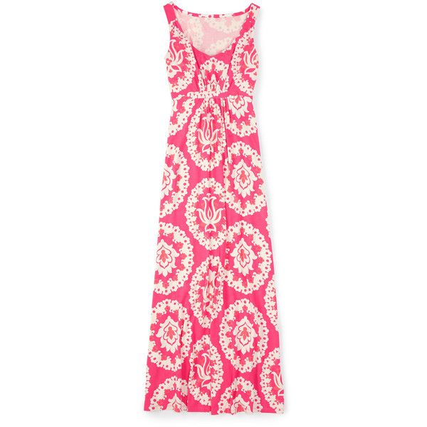 Boden Jersey Maxi Dress ($74) ❤ liked on Polyvore featuring dresses, pink jersey dress, mixed print dress, maxi dress, pink print dress i print maxi dress