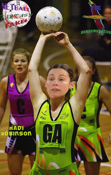 NETBALL FANTASY FAKES - Madison Browne of the Perth Orioles tries the Goal Attack bib on for size during a game against the AIS Canberra Darters in the 2006 CBT season