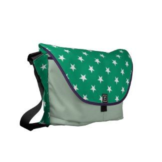 Jade And White Stars Rickshaw Messenger Bags