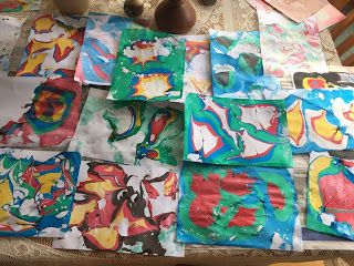 Margaret de Jong: Paper Marbling - having a play with a Marbling Set...