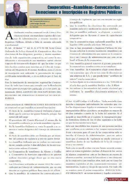"""EL PROCESO ELECTORAL EN LAS COOPERATIVAS PERÚ : LA DEMOCRACIA COOPERATIVA """" UN SOCIO UN VOTO"""""""